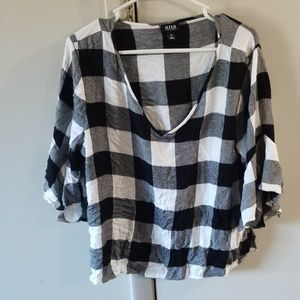 Black and white plaid bell sleeve shirt